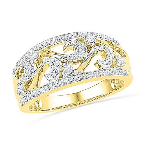 Jewel Tie - Size 8 - Solid 10k Yellow Gold Round Diamond Filigree Band Ring (1/3 ()