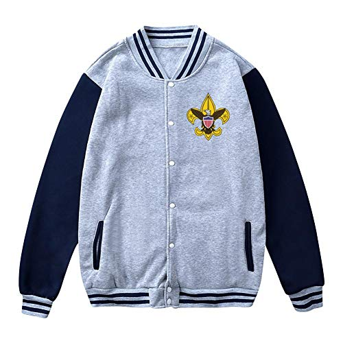 (FANZAO Men's Boy Scouting Baseball Jacket Uniform Unisex Coat Gray)