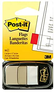 Post-It Flags, 1-Inch x 1.7-Inch, White, 50 Flags/Dispenser, (680-6)