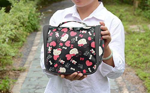 7a59935054 Finex Black Hello Kitty Toiletry Shower Bag with Hanging Hook Cosmetic Make  up Organizer Bag for
