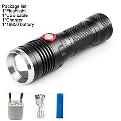 C, XML L2 : Powerful 8000LM USB CREE XM-L2 LED Tactical Flashlight Lantern Aluminum Torch Flash Light Camping Lamp with Smart Power Reminder