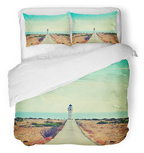 Emvency Bedsure Duvet Cover Set Closure Printed View of Beacon Far De Barbaria in Formentera Balearic Islands Spain with Retro Decorative Breathable Bedding Set With 2 Pillow Shams Twin Size by Emvency