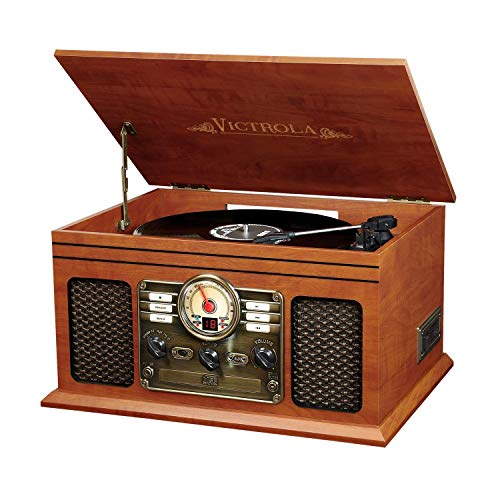 (Victrola Nostalgic Classic Wood 6-in-1 Bluetooth Turntable Entertainment Center, Mahogany (Renewed))