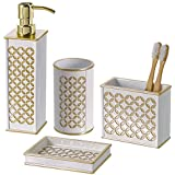 Diamond Lattice 4Pc Bath Accessory Sets  Decorative Lotion Dispenser/ Dish/  Tumbler/ Toothbrush Holder  Durable Accessories Set  Best Bathroom  Decorating ...