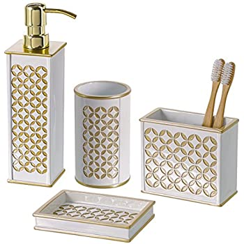 Diamond Lattice 4Pc Bath Accessory Sets  Decorative Lotion Dispenser/ Dish/  Tumbler/ Toothbrush