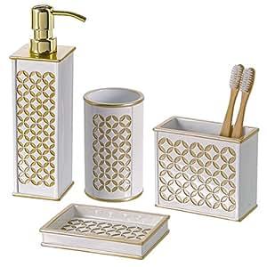 Diamond lattice 4pc bath accessory sets for Mustard bathroom accessories uk