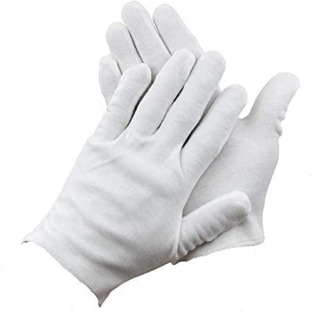 Guantes de algodón blanco, 14 pares de guantes de trabajo blancos, cómodos y transpirables, para manos secas y eccemas, hidratantes, inspección de joyas y monedas: Amazon.es: Hogar