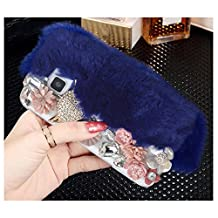 Yaheeda For Samsung Galaxy S6 Edge, Bling Crystal Flowers Fluffy Cover Rex Rabbit Fur Case Winter Handmade Soft Crystal Case Shell Creative