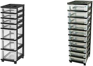 IRIS USA, Inc. IRIS 7-Drawer Rolling Storage Cart with Organizer Top, Black Medium 10-Drawer Cart with Organizer Top, Black