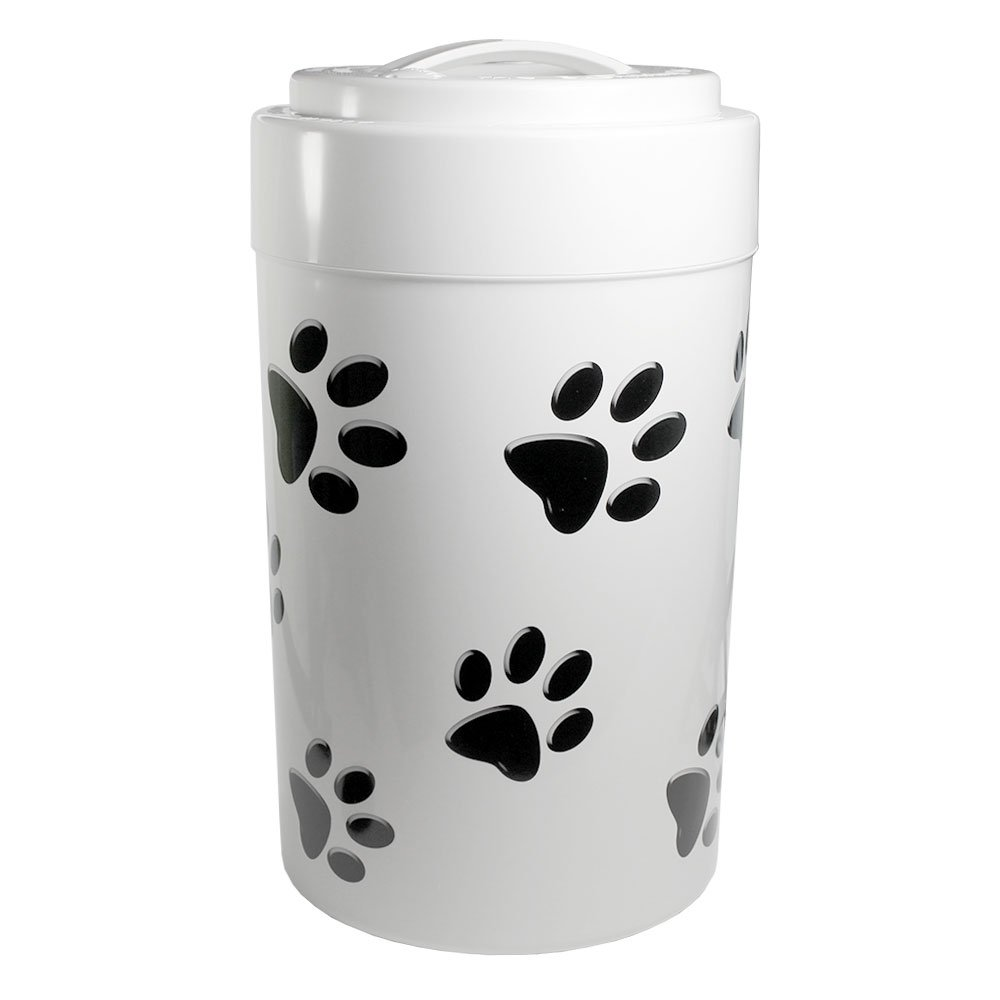 Pawvac 5+ Pound Vacuum Sealed Pet Food Storage Container; White Cap & Body/Black Paws