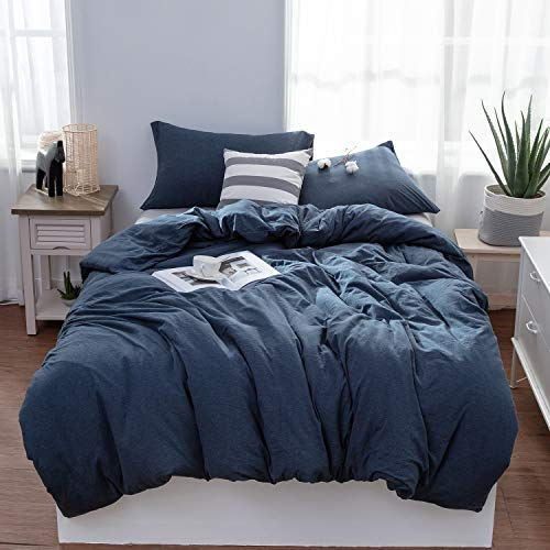 LIFETOWN Jersey Knit Cotton Duvet Cover Set Super Soft Comfy 3 Pieces Solid Pattern Bedding Set 1 Duvet Cover and 2 Pillowcases (King, Navy Blue) (Cover Duvet Navy King)