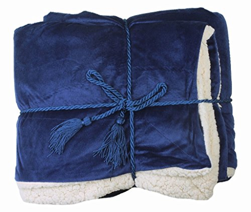 Luxury Soft Reversible Faux Fur Lambswool Cashmere Blankets Throw Cobalt Blue by EPYA