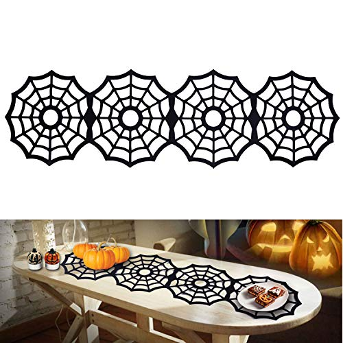 Halloween Black Spider Web Placemats, Felt Dining Table Mats Tablecloth Spooky Heat-resistant Table Runner for Themed Gatherings Dinner Parties Scary Movie Nights Kitchen Dining Table Decoration