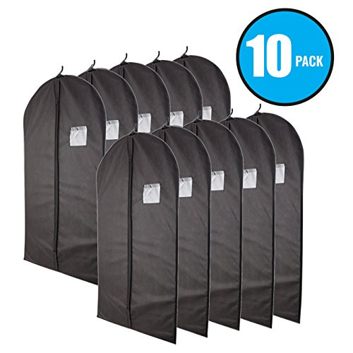 """Plixio 40"""" Black Garment Bags for Breathable Storage of Suits or Dresses—Includes Zipper & Transparent Window (Pack of 10)"""