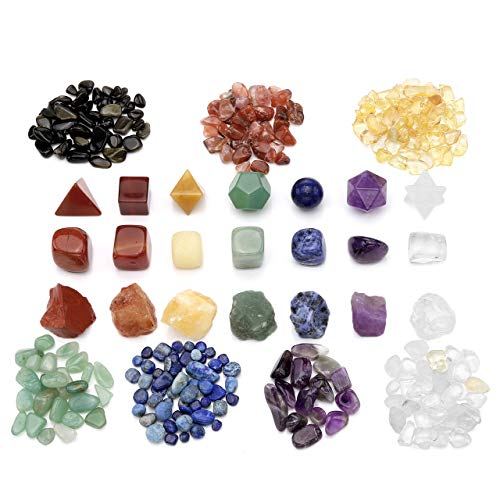 Top Plaza 7 Chakra Healing Crystals Natural Gemstones Kit W/Tumbled Palm Stones,Irregular Raw Rough Stones,Platonic Solids Crystals,Chip Stones for Reiki,Yoga Meditation,Wicca,Therapy