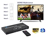 Goronya HDMI 4X1 Quad Multi-Viewer Splitter with Seamless Switcher IR Control