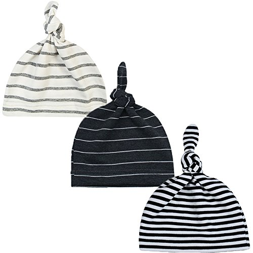 Striped Beanie Cap - Newborn Boy Nursery Beanie Hospital Hat Cotton Adjustable Knot Cap (Striped Color)
