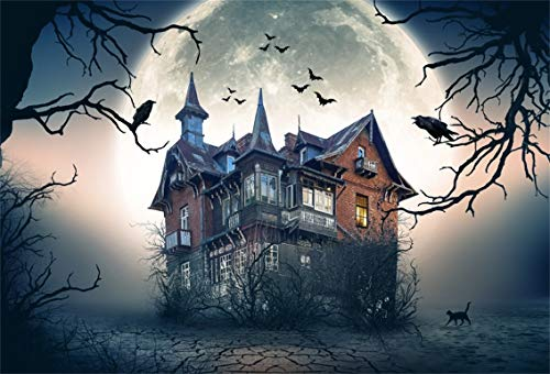 Leyiyi 10x6.5ft Gothic Halloween Backdrop Vintage Castle Abandoned Medieval Building Full Moon Bats Fly Spooky Bare Trees Photography Background Costume Carnial Photo Studio Prop Vinyl Wallpaper