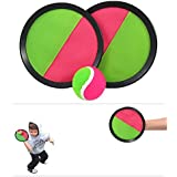 """Toy CubbyVelcro ball Paddle Catch and Toss Game Set- 7"""" Handheld Stick Disc - 1 Set"""