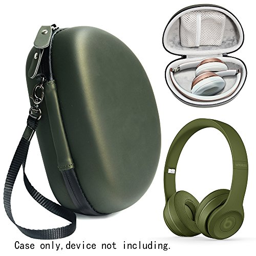 Turf Green Protective Case for Beats Solo 3 Wireless On-Ear Headphones, also for Solo 2 Wired and Solo HD, Featured in matching color and shape, accessories pocket, detachable wrist strap