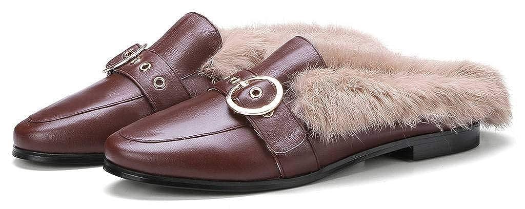 SimpleC Otoño Invierno Ronda Hebilla Pelo de Conejo Plano Ponerse Mocasines Mules para Mujeres Mar36(M): Amazon.es: Zapatos y complementos