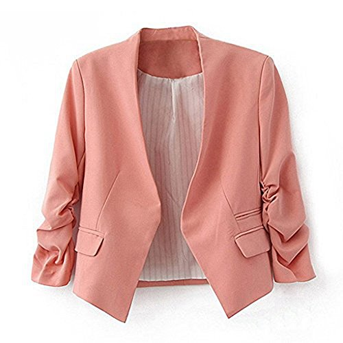 MuMuJia Women's Folding Sleeve Lightweight Office Blazer Candy Color