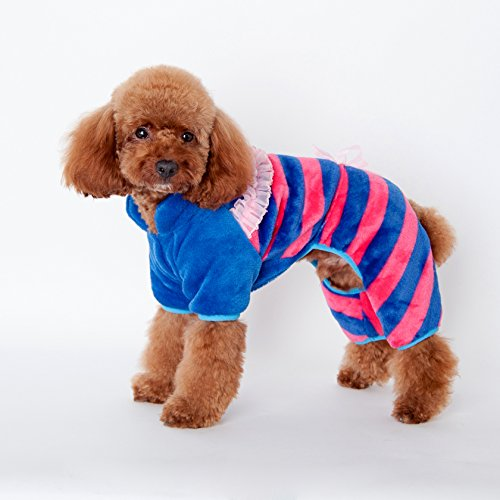 BigBig Home Coral Fabric Dog Jumpsuit with Ribbon,3 Colors&5 Sizes Available.(S,M,L,XL,XXL) (Blue Ribbon Coral Cats)