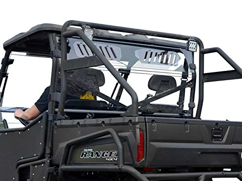 SuperATV Heavy Duty Clear Vented Rear Windshield for Polaris Ranger Full Size 800 / Crew / 6x6 - (2010-2016) - Protection From Flying Debris ()