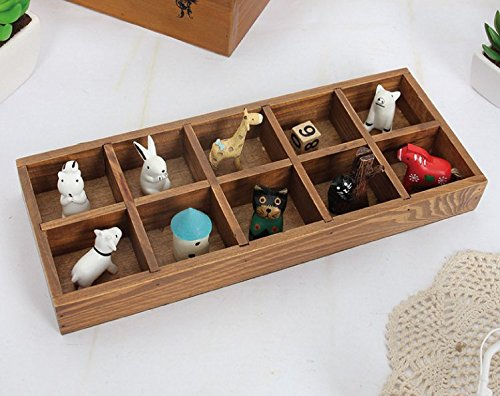 Multi-functional 10-Grid Vintage Wooden Storage Divider Box Drawer Desk Organizer Tray for Crafts,Flowers, Plants, Jewelry, Supplies from Astra Gourmet