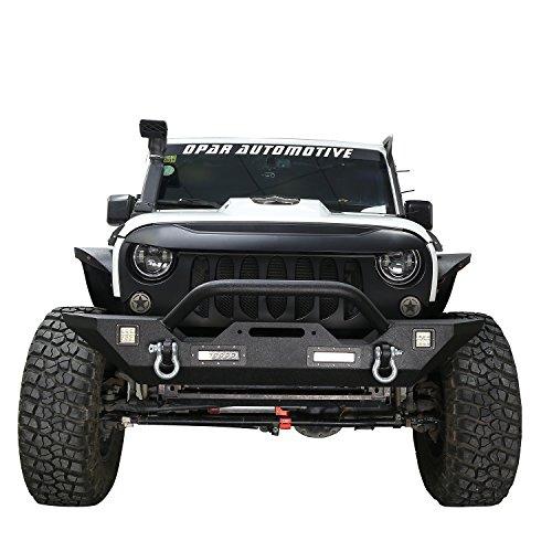 Opar 2017-2018 JK Different Trail Front Bumper w/ Winch Plate & 4x LED Accent Lights for Jeep Wrangler JK & Unlimited