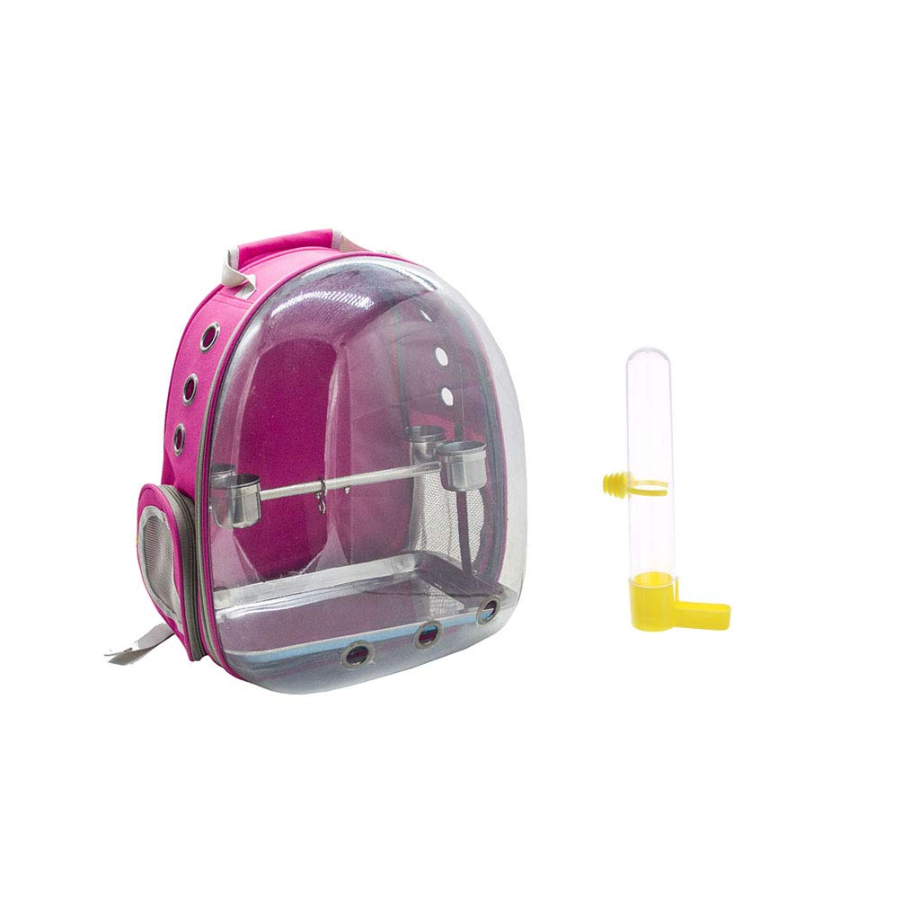 Perfeclan Clear Cover Parred Bird Carrier Backpack pink Red with Stainless Steel Perch Stand & & Bird Water Drinker