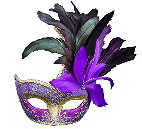 Mardi Gras Venetian Masks (Costume Mask Feather Masquerade Mask Halloween Mardi Gras Cosplay Party Masque (Purple))