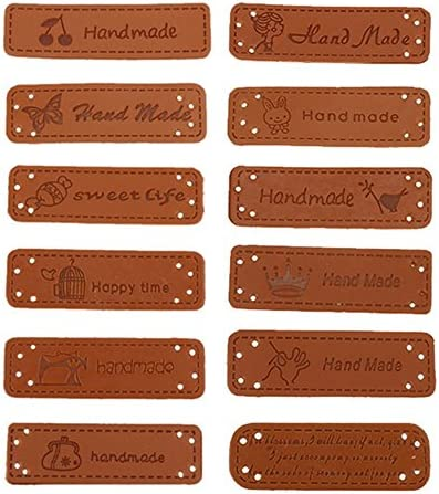 Mixed Style Exceart Leather Handmade Labels Embossed Tag with Holes DIY Embellishments Ornaments for Crafts Knitting Crocheting 20pcs