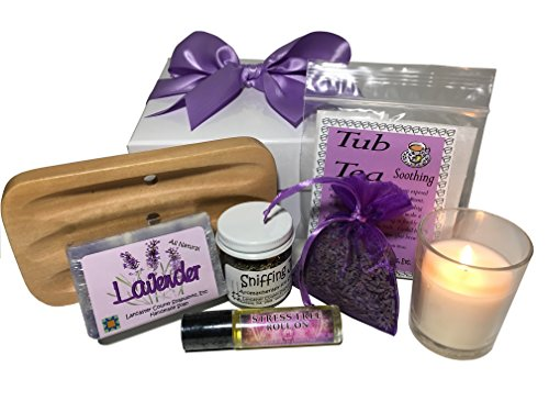 Lavender Gift Box Bundle, filled with Lavender Soap, Soap Dish, Tub Tea, Fragrant Lavender Sachet, Vanilla Candle, Soothing Fragrances, Jojoba Oil Roll-On with Lavender ()