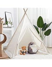 خيمة اللعب تيبي للاطفال، خيمة مخروطية الشكل للعب في الاماكن المغلقة والمفتوحة، من القماش الكتاني مقاس كبير، بيت لعب للاطفال لتزيين غرفة غرفتهم بمقاس 120×120×130 سم، بيضاء اللون من ويزفور