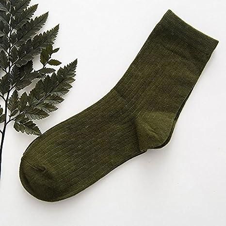 XIU*RONG Las Alumnas De Calcetines Calcetines Color Puro Shutiao Cotton Socks Socks (5 Pares),F,Verde Militar: Amazon.es: Deportes y aire libre