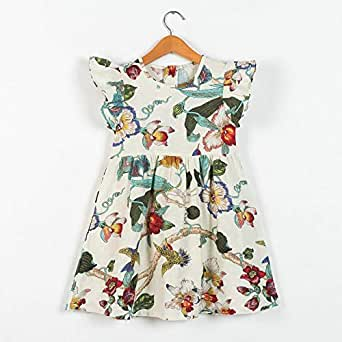 Girls Colorful Retro Sleeveless Floral Print Swing Dresses 6-7 years