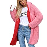 Perman Womens Coat Winter Fashion Warm Parka Artificial Wool Dichroic Jacket Hooded Long Outerwear Clearance Sale(3XL,Pink - Red)