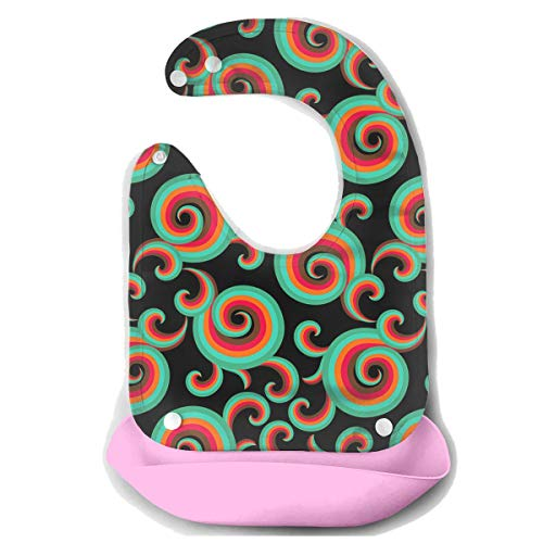 Price comparison product image Curls And Swirls Rubber Baby Bibs Removable Unisex Bibs For Toddler Wipe, Easy Clean