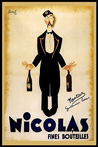Nicolas Sommelier Water Red White Wine Bottle France French Vintage Poster Repro 24