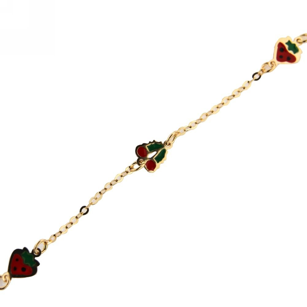 18KT Yellow Gold Red Enamel 1 Cherry and 2 strawberry Bracelet 6 nches