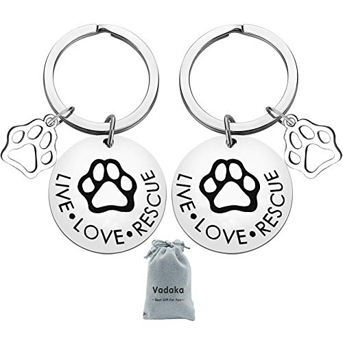 Pet Owner Gift Keychain,Pet Rescue Jewelry Live Love Rescue Keychain Paw Print Jewelry Adoption Jewelry for Dog or Cat Owners(2 Pack) -