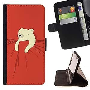 BullDog Case - FOR/Samsung ALPHA G850 / - / polar bear kids sweet cute red night /- Monedero de cuero de la PU Llevar cubierta de la caja con el ID Credit Card Slots Flip funda de cuer
