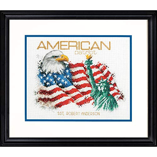 Dimensions 'American Patriot' Counted Cross Stitch Patriotic Personalized Gift for Veterans and Military Kit, 14 Count White Aida Cloth, 10'' x 8''