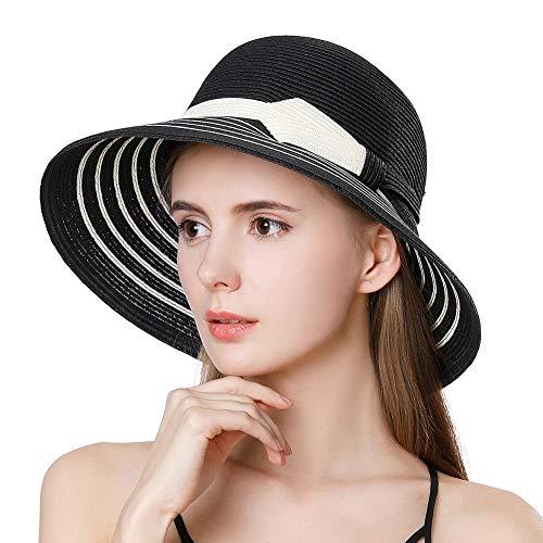 Womens Foldable Straw Sun Hat SPF UV Protection Wide Brim Stylish Panama Fedora Summer Cruise Travel Beach Hat Adjustable Black 55-58CM