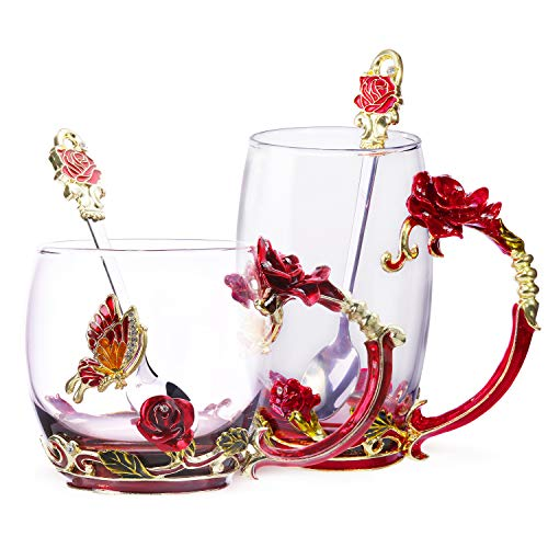 Tea Cup Coffee Mug Glassess Cups & Spoon Beautiful Unique Gift For Women Butterfly Rose