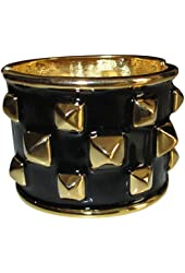 Kenneth Jay Lane Black Enamel And Polished Gold Plated Pyramid Cuff Bracelet