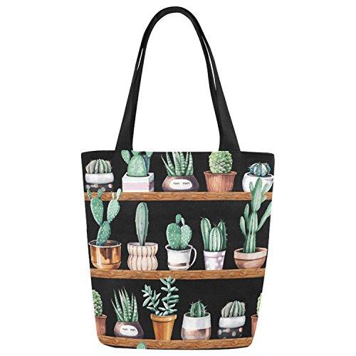 InterestPrint Watercolor Cactus Succulent Canvas Tote Bag Shoulder Handbag by InterestPrint