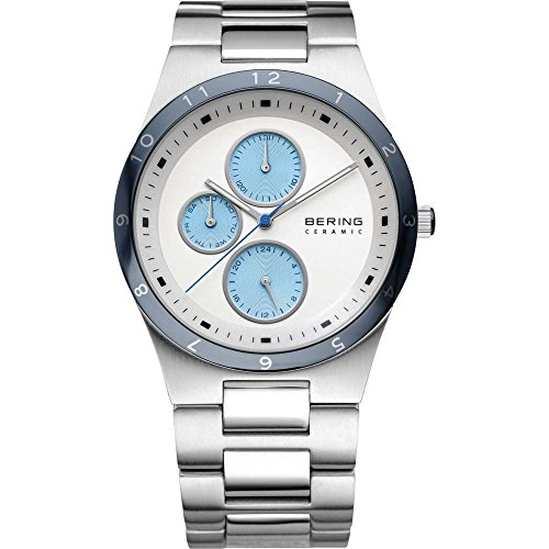 BERING Time 32339-707 Men's Ceramic Collection Watch with Chrome Link Band and scratch resistant sapphire crystal. Designed in Denmark.