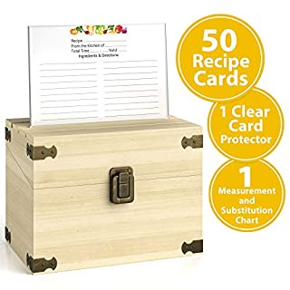 Zen Earth Premium Kitchen Recipe Box - Luxury Handcrafted Pine Wood Recipe Case with Card Holder Grooves - Great for 200 4x6 inches Recipe and Index Cards - 50 Recipe Cards and 1 Clear Card Frame